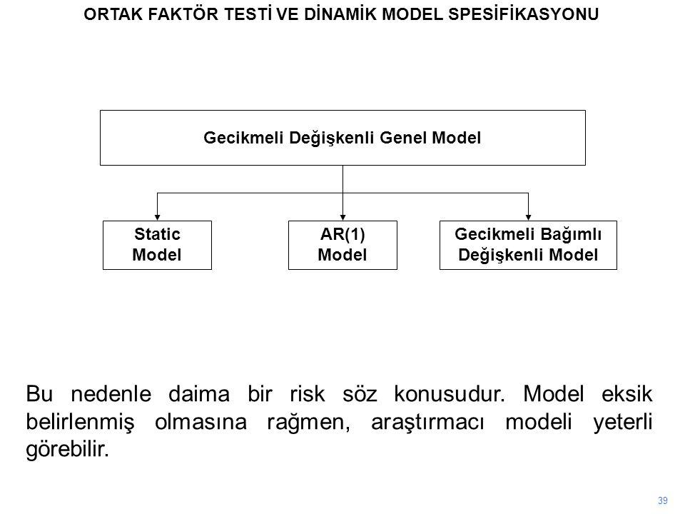 ORTAK FAKTÖR TESTİ VE DİNAMİK MODEL SPESİFİKASYONU