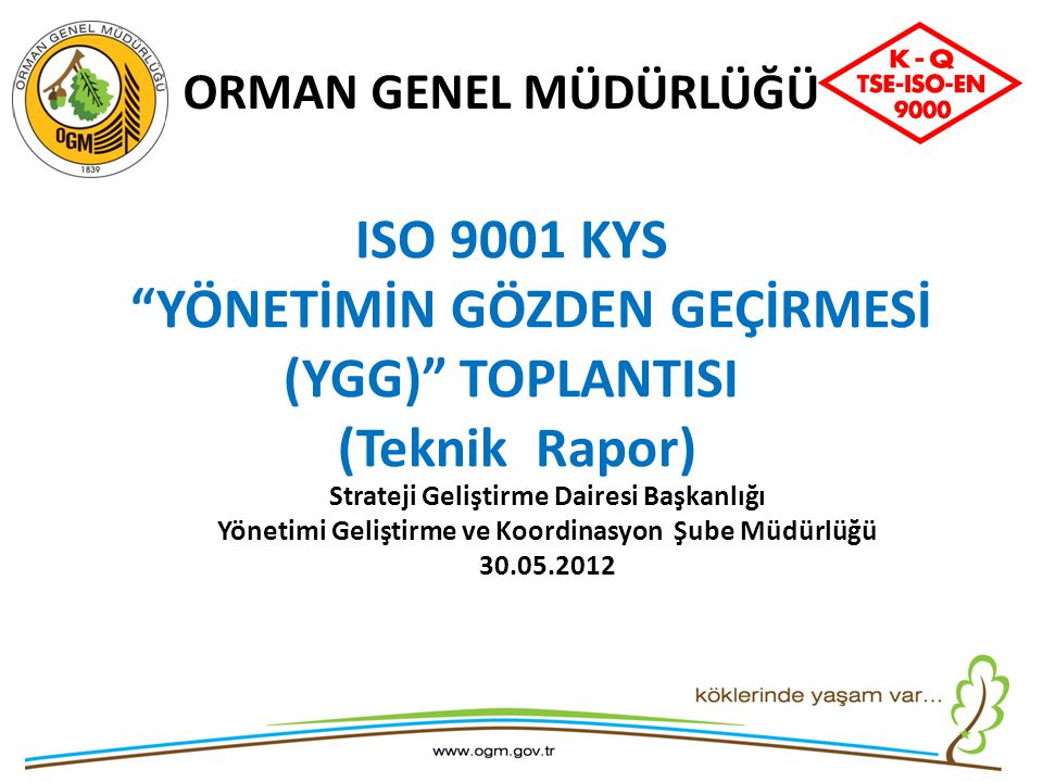 YÖNETİMİN GÖZDEN GEÇİRMESİ (YGG) TOPLANTISI (Teknik Rapor)