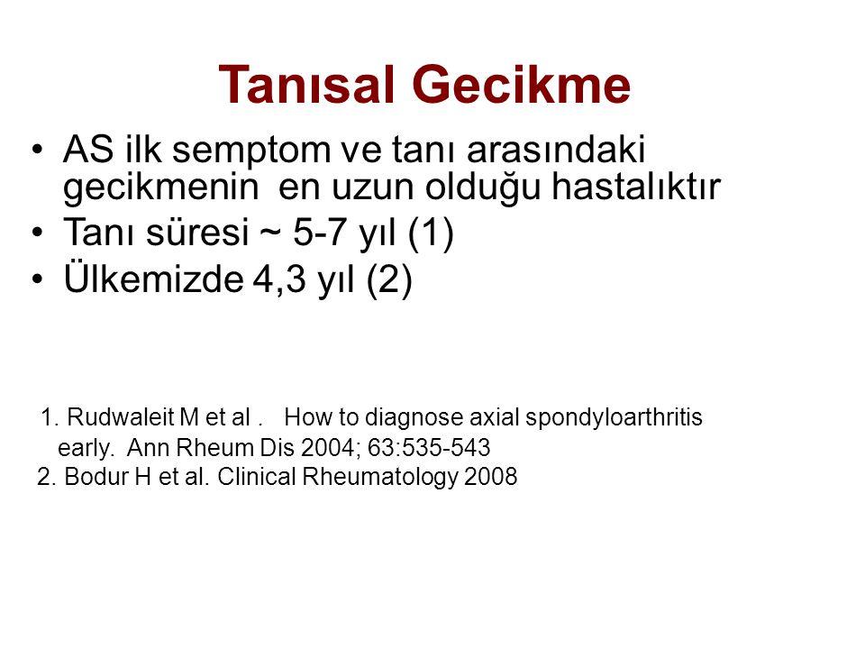 Tanısal Gecikme AS ilk semptom ve tanı arasındaki gecikmenin en uzun olduğu hastalıktır. Tanı süresi ~ 5-7 yıl (1)
