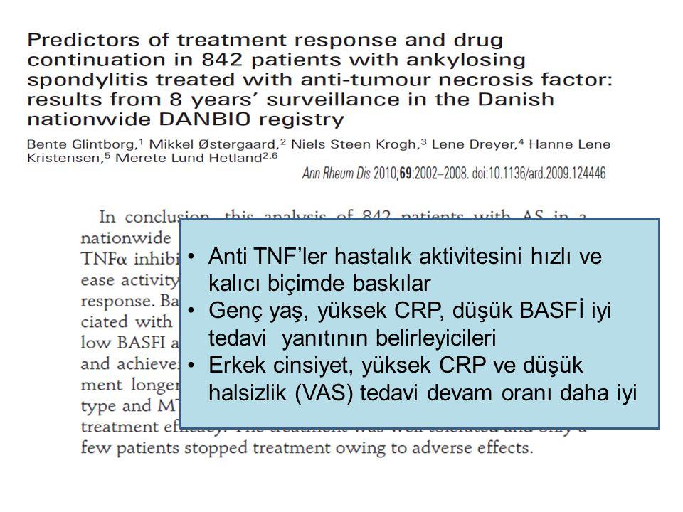 Anti TNF'ler hastalık aktivitesini hızlı ve kalıcı biçimde baskılar
