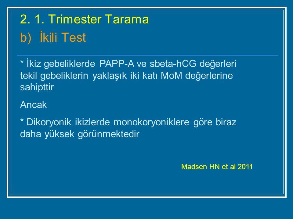 2. 1. Trimester Tarama b) İkili Test