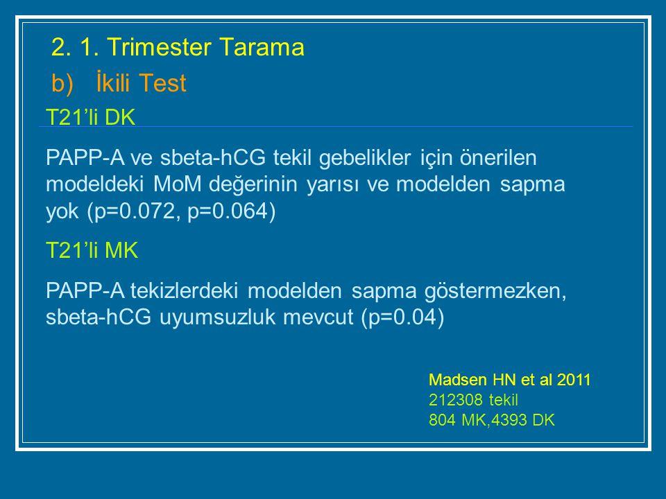 2. 1. Trimester Tarama b) İkili Test T21'li DK