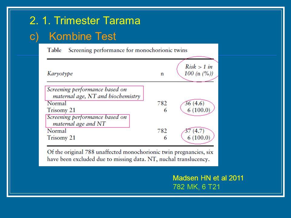 2. 1. Trimester Tarama c) Kombine Test Madsen HN et al 2011