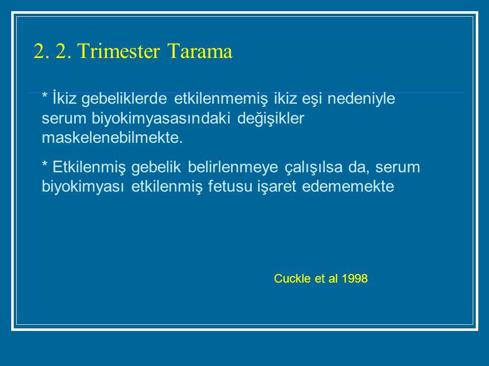 2. 2. Trimester Tarama * İkiz gebeliklerde etkilenmemiş ikiz eşi nedeniyle serum biyokimyasasındaki değişikler maskelenebilmekte.