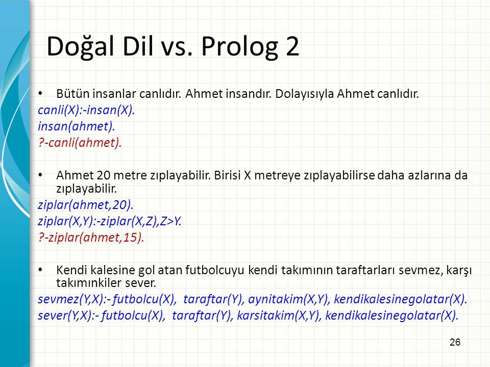 Doğal Dil vs. Prolog 2 Bütün insanlar canlıdır. Ahmet insandır. Dolayısıyla Ahmet canlıdır. canli(X):-insan(X).