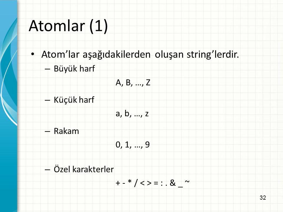 Atomlar (1) Atom'lar aşağıdakilerden oluşan string'lerdir. Büyük harf