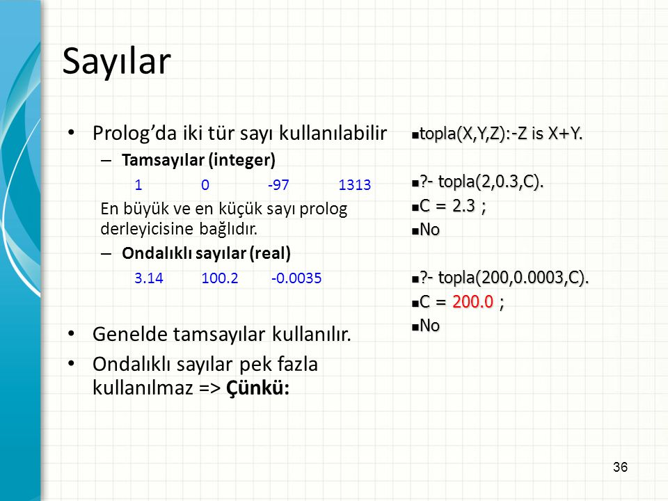 Sayılar Prolog'da iki tür sayı kullanılabilir