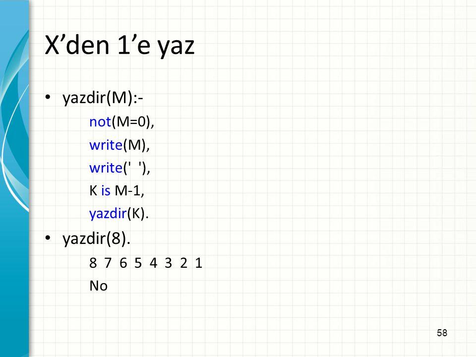 X'den 1'e yaz yazdir(M):- yazdir(8). not(M=0), write(M), write( ),