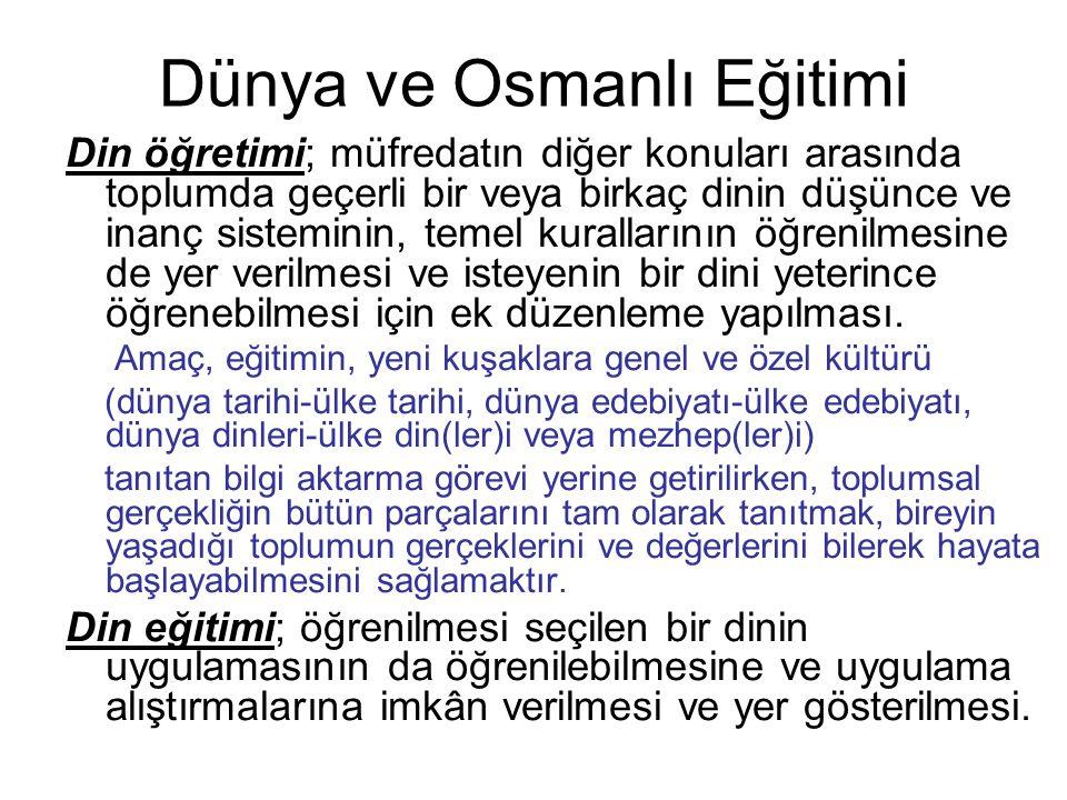 Dünya ve Osmanlı Eğitimi