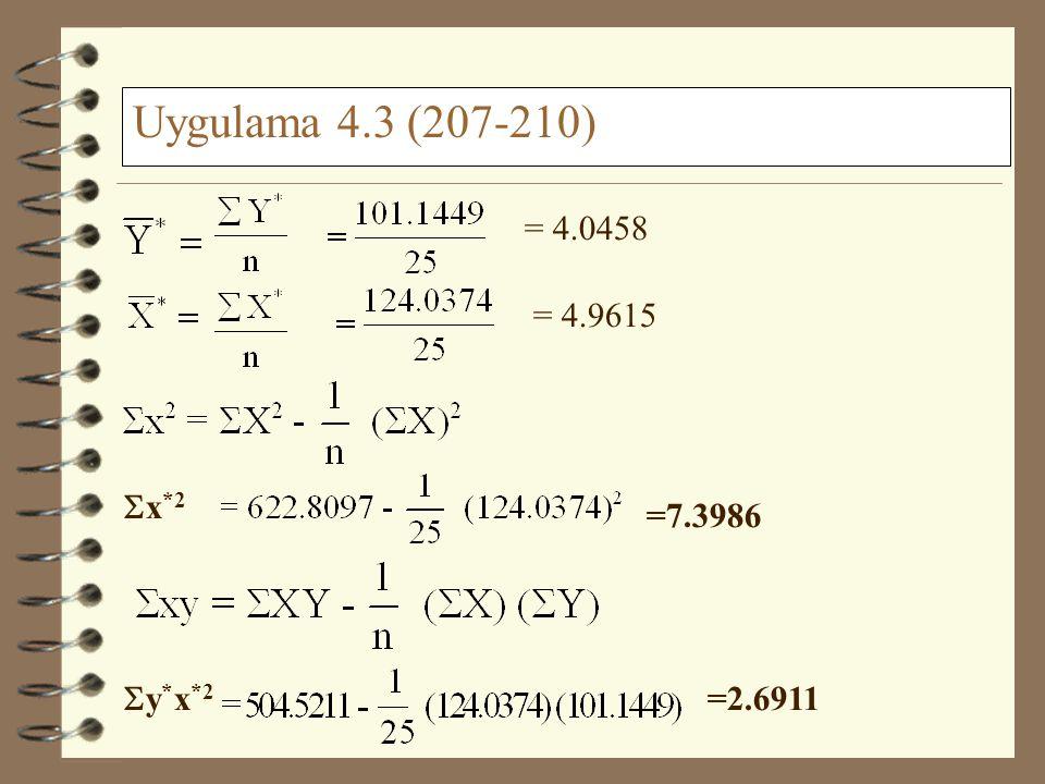 Uygulama 4.3 (207-210) = 4.0458 = 4.9615 Sx*2 =7.3986 Sy*x*2 =2.6911