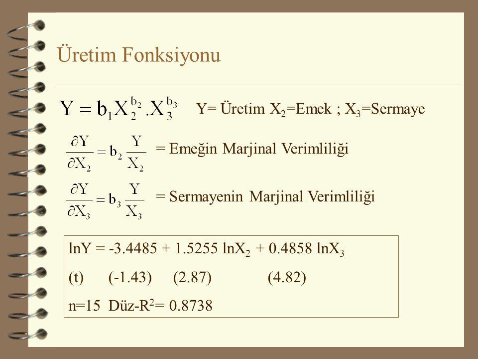 Üretim Fonksiyonu Y= Üretim X2=Emek ; X3=Sermaye