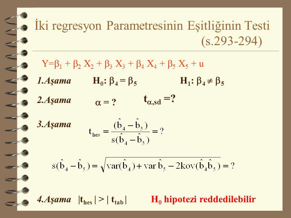 İki regresyon Parametresinin Eşitliğinin Testi (s.293-294)