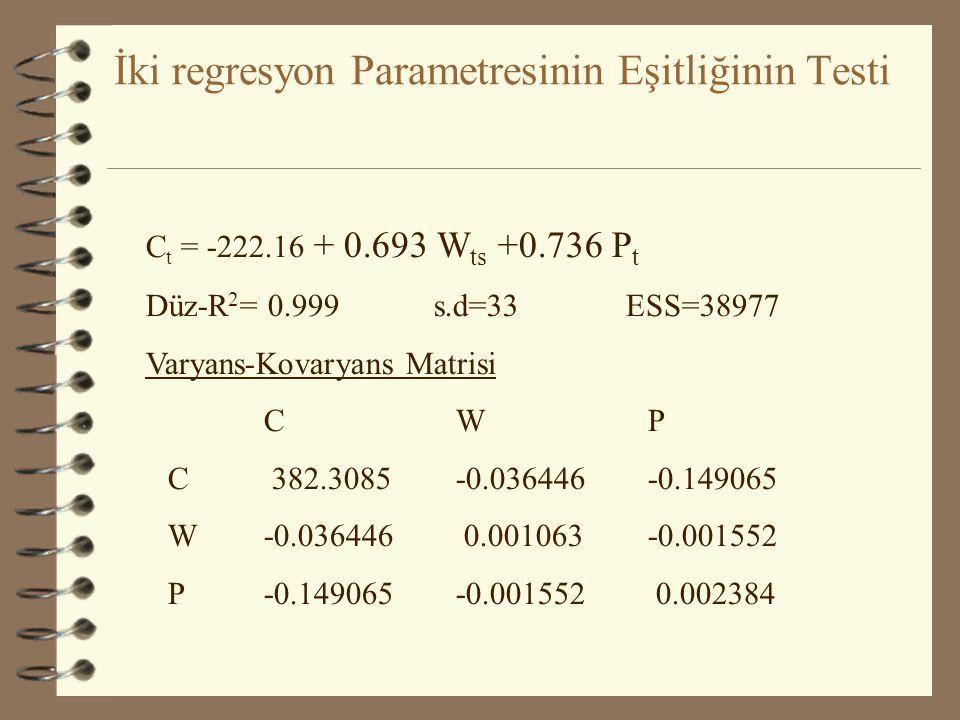 İki regresyon Parametresinin Eşitliğinin Testi