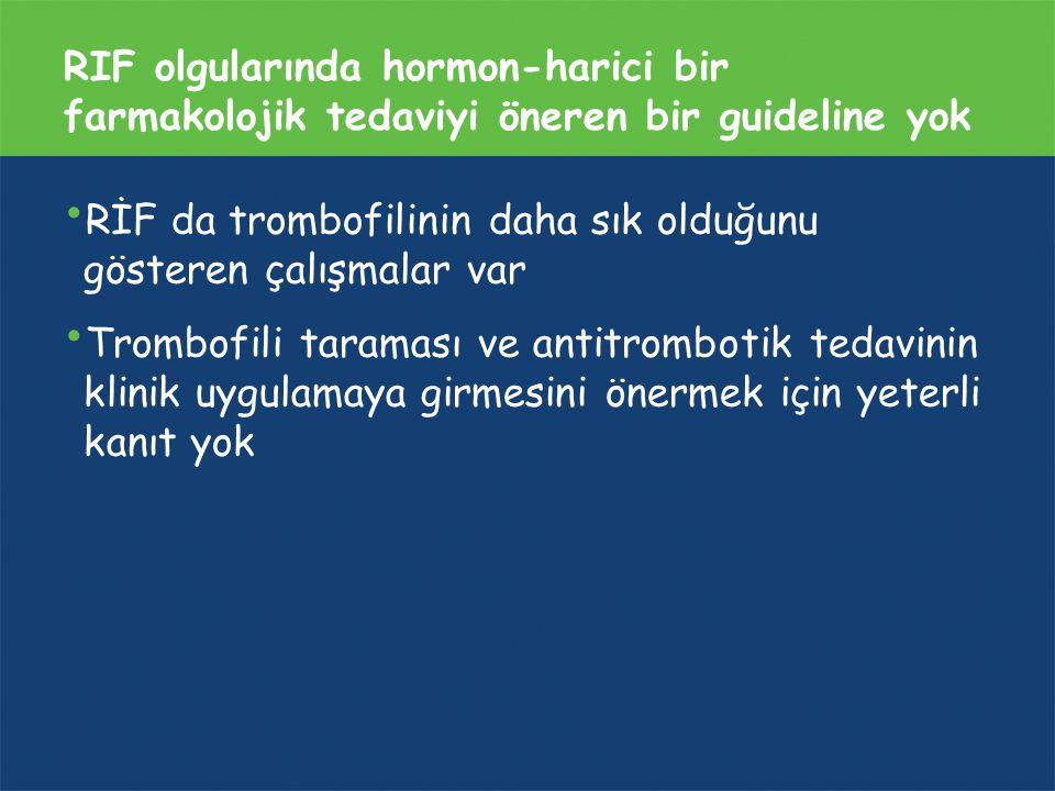 RIF olgularında hormon-harici bir farmakolojik tedaviyi öneren bir guideline yok