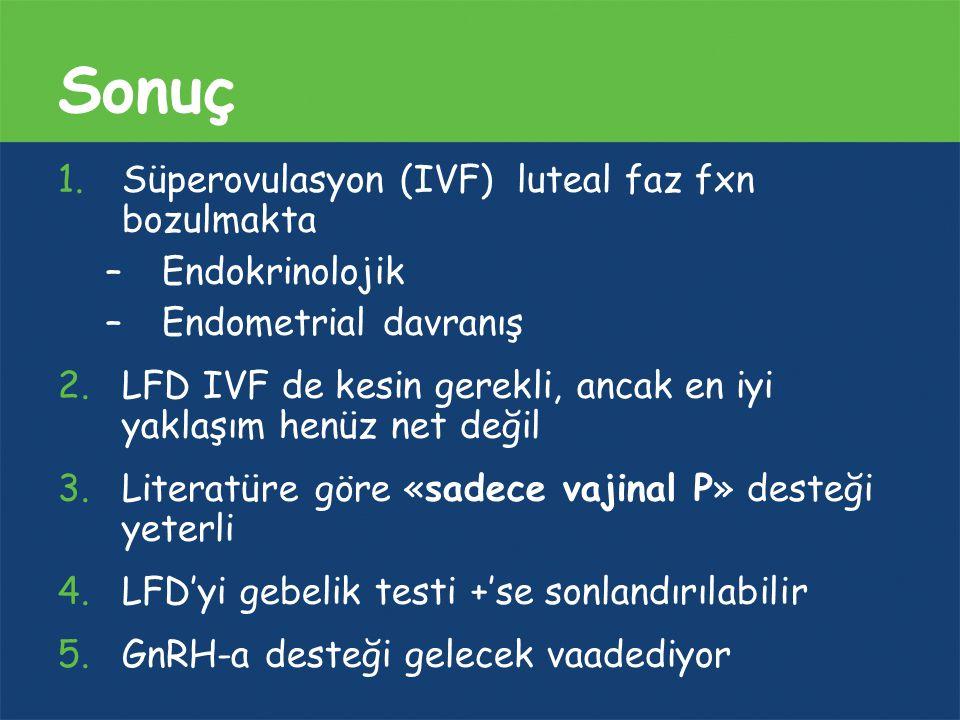 Sonuç Süperovulasyon (IVF) luteal faz fxn bozulmakta Endokrinolojik