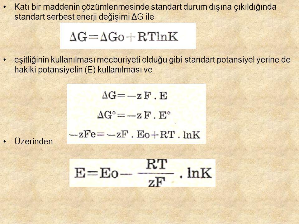 Katı bir maddenin çözümlenmesinde standart durum dışına çıkıldığında standart serbest enerji değişimi ΔG ile