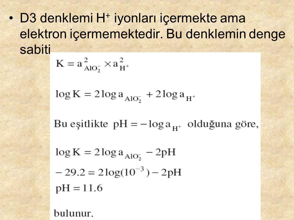 D3 denklemi H+ iyonları içermekte ama elektron içermemektedir