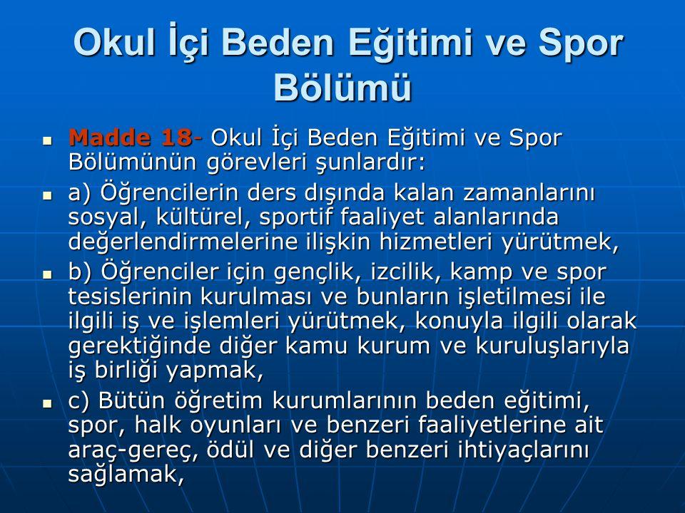 Okul İçi Beden Eğitimi ve Spor Bölümü