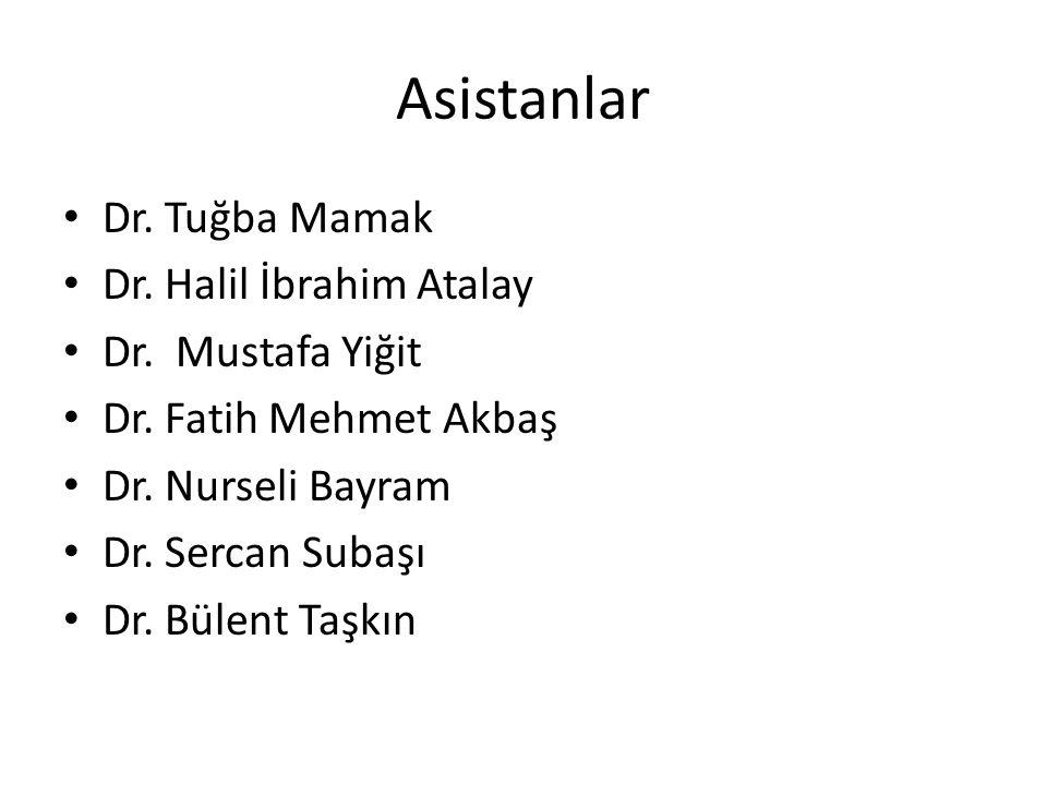 Asistanlar Dr. Tuğba Mamak Dr. Halil İbrahim Atalay Dr. Mustafa Yiğit