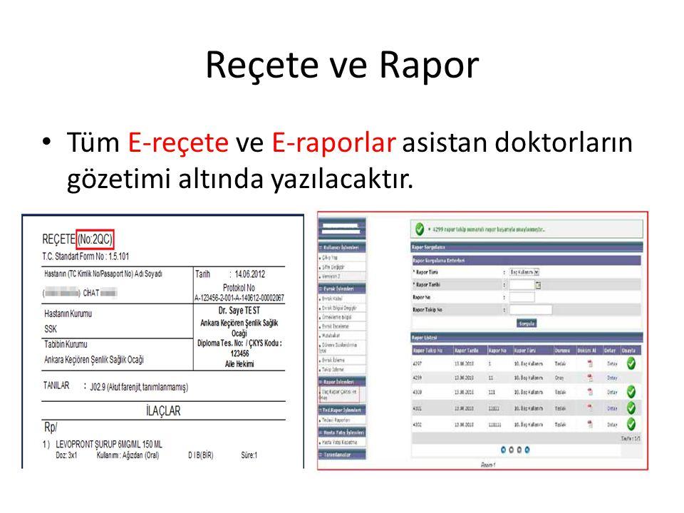 Reçete ve Rapor Tüm E-reçete ve E-raporlar asistan doktorların gözetimi altında yazılacaktır.