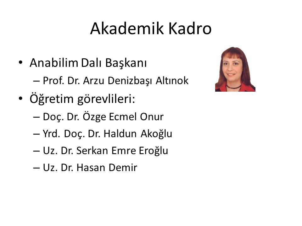 Akademik Kadro Anabilim Dalı Başkanı Öğretim görevlileri: