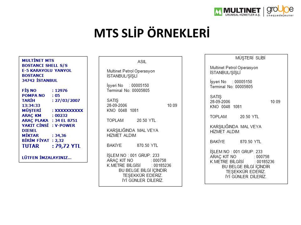 MTS SLİP ÖRNEKLERİ TUTAR : 79,72 YTL MÜŞTERİ SLİBİ MULTİNET MTS ASIL