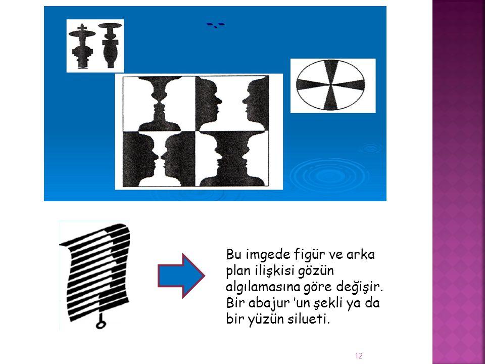 Bu imgede figür ve arka plan ilişkisi gözün algılamasına göre değişir