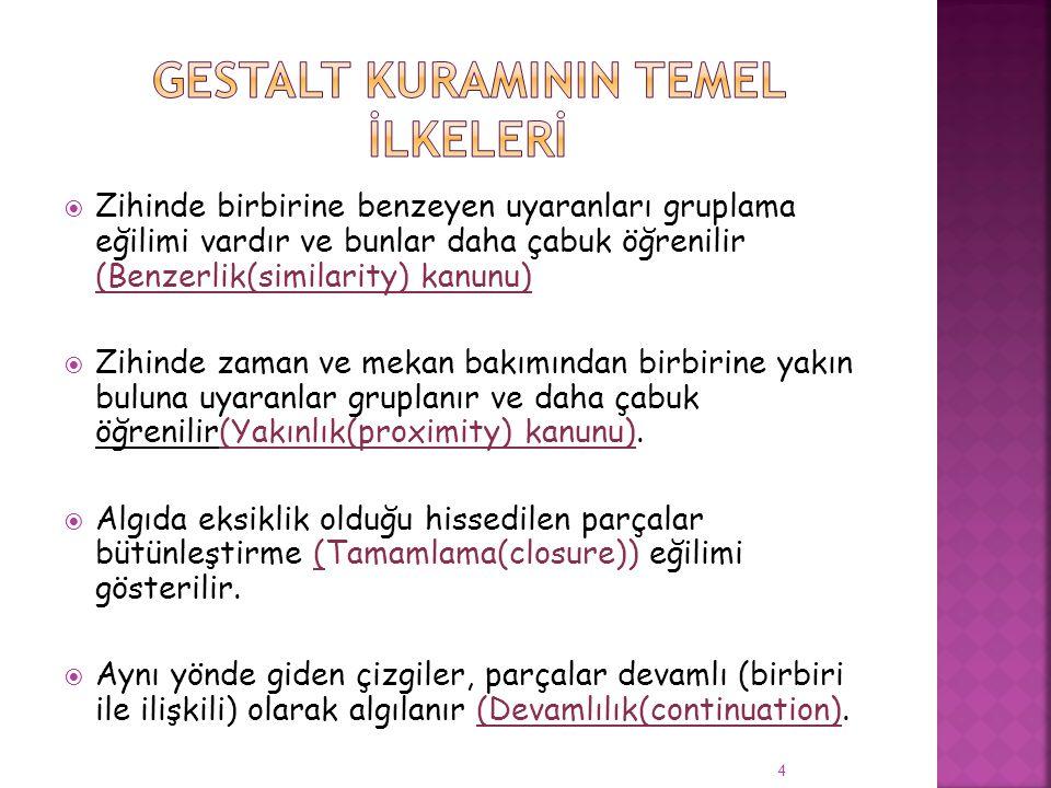 Gestalt kuramININ TEMEL İLKELERİ
