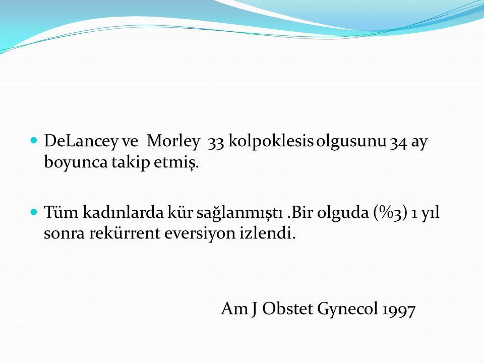 DeLancey ve Morley 33 kolpoklesis olgusunu 34 ay boyunca takip etmiş.