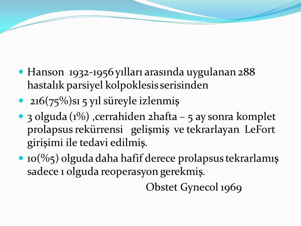 Hanson 1932-1956 yılları arasında uygulanan 288 hastalık parsiyel kolpoklesis serisinden
