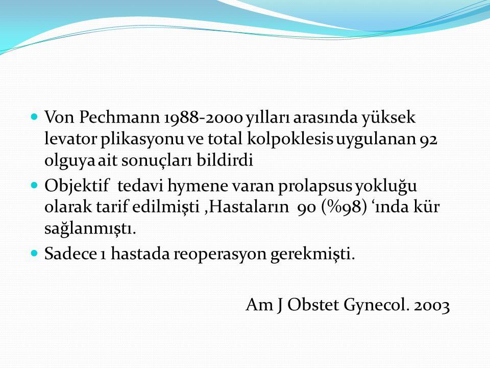 Von Pechmann 1988-2000 yılları arasında yüksek levator plikasyonu ve total kolpoklesis uygulanan 92 olguya ait sonuçları bildirdi