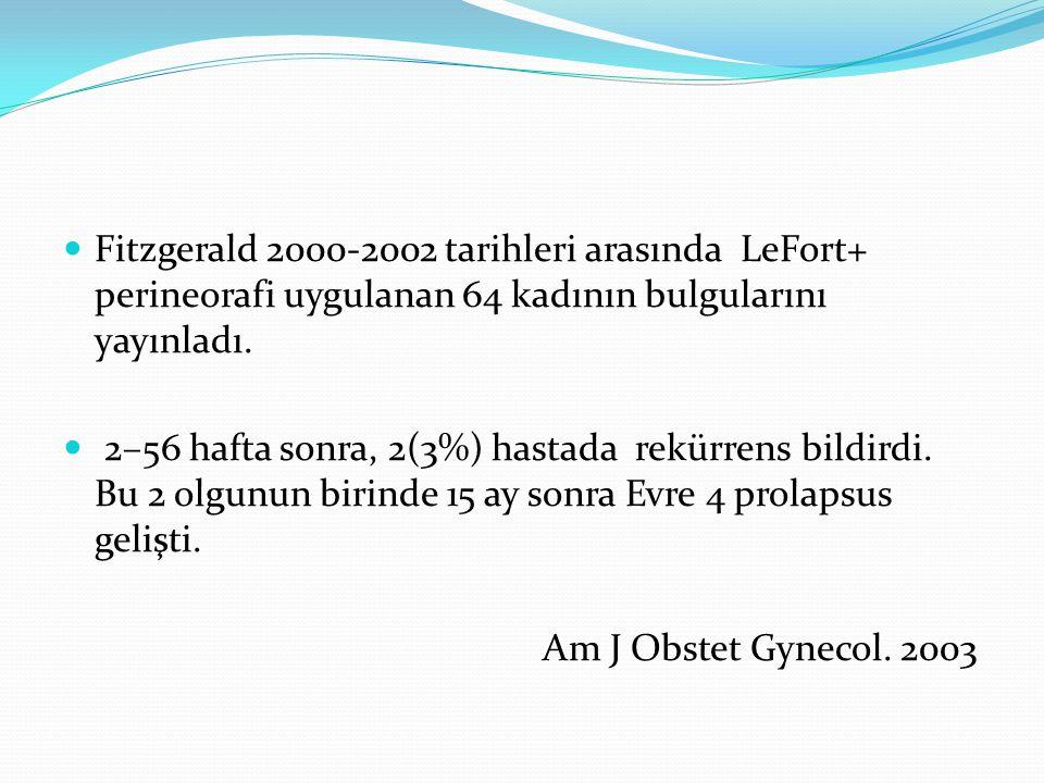 Fitzgerald 2000-2002 tarihleri arasında LeFort+ perineorafi uygulanan 64 kadının bulgularını yayınladı.