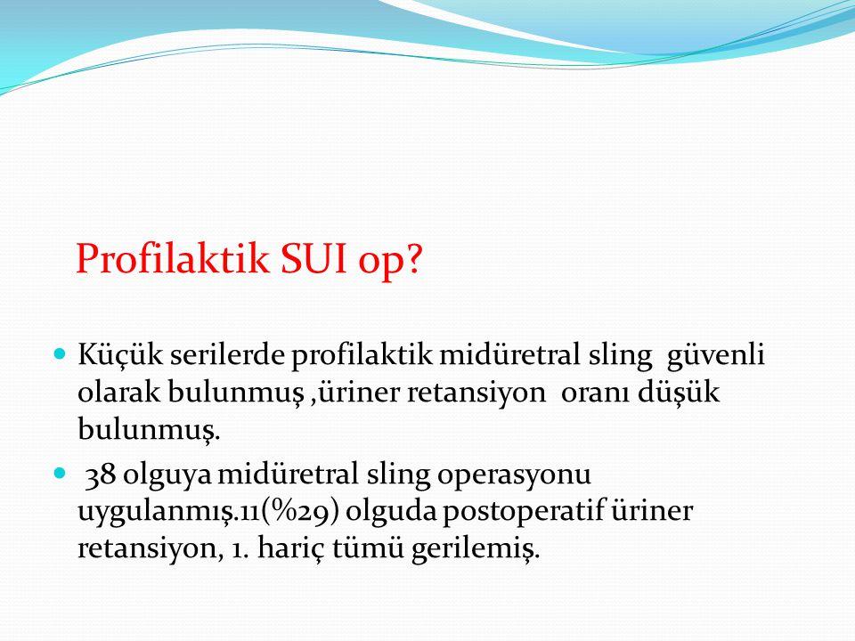 Profilaktik SUI op Küçük serilerde profilaktik midüretral sling güvenli olarak bulunmuş ,üriner retansiyon oranı düşük bulunmuş.