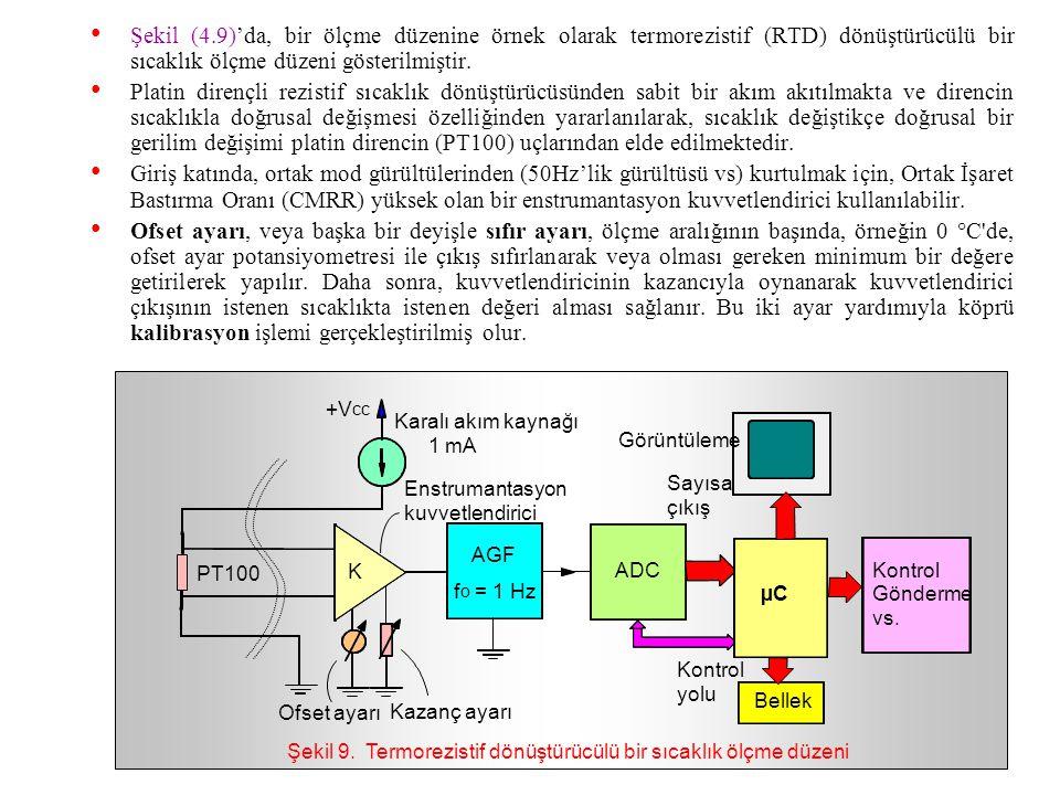 Şekil 9. Termorezistif dönüştürücülü bir sıcaklık ölçme düzeni