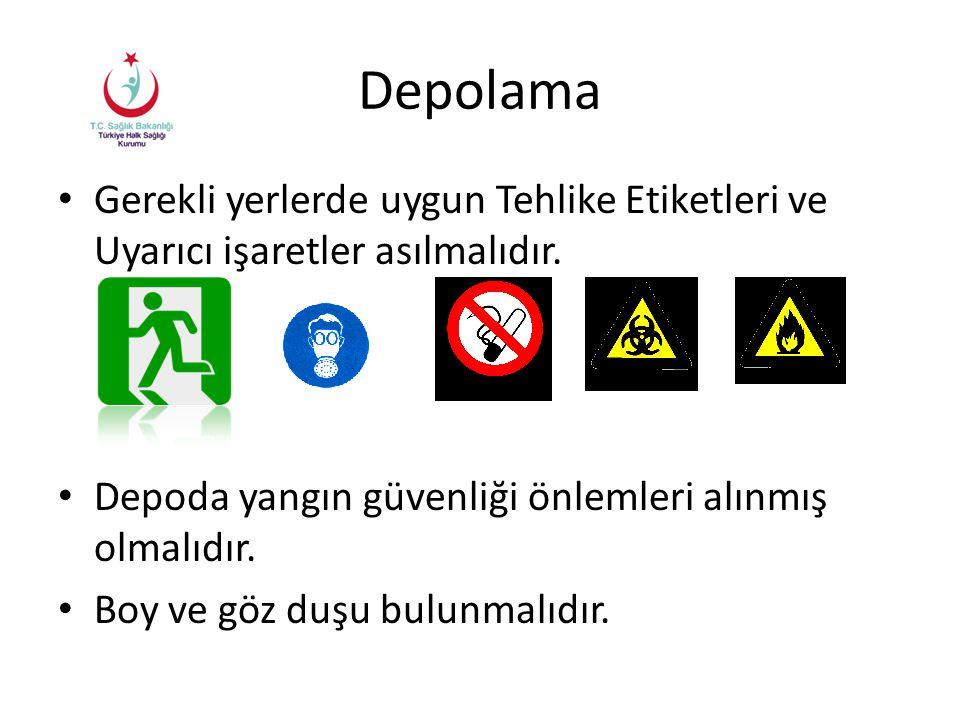 Depolama Gerekli yerlerde uygun Tehlike Etiketleri ve Uyarıcı işaretler asılmalıdır. Depoda yangın güvenliği önlemleri alınmış olmalıdır.