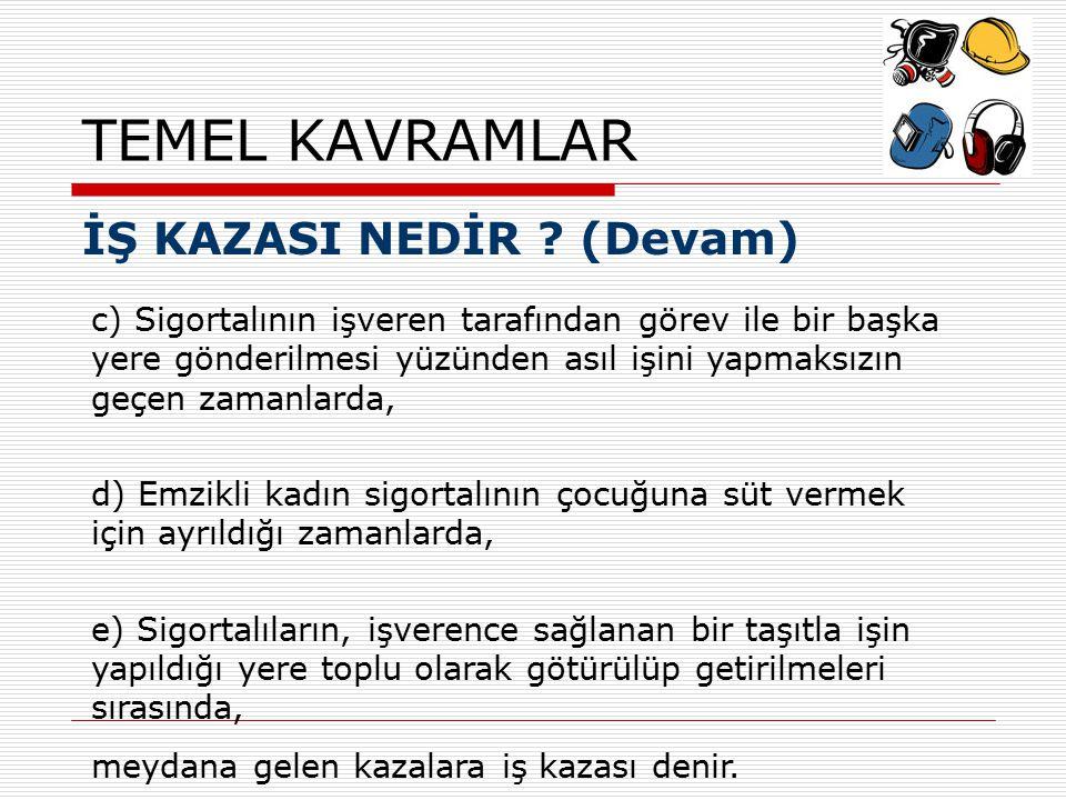 TEMEL KAVRAMLAR İŞ KAZASI NEDİR (Devam)