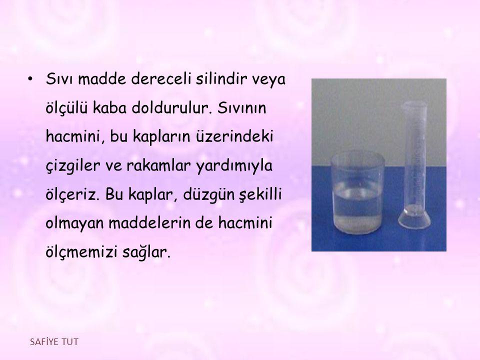Sıvı madde dereceli silindir veya ölçülü kaba doldurulur