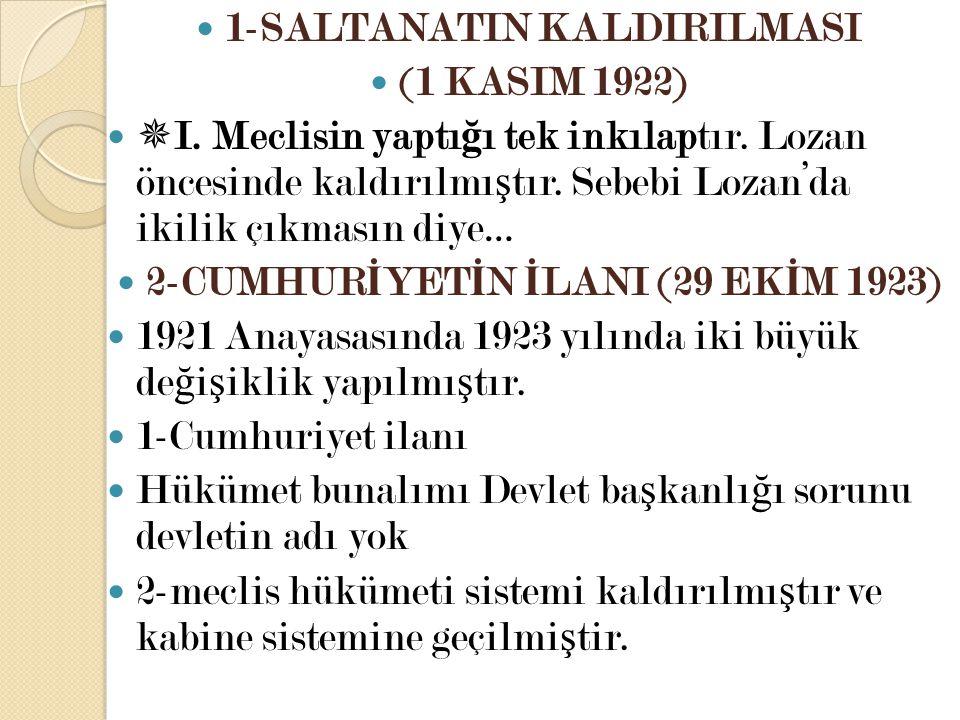 1-SALTANATIN KALDIRILMASI