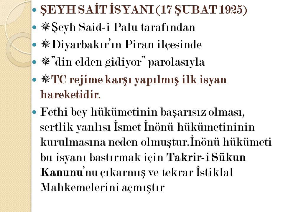 ŞEYH SAİT İSYANI (17 ŞUBAT 1925)