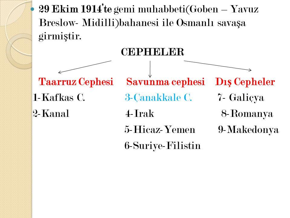 29 Ekim 1914'te gemi muhabbeti(Goben – Yavuz Breslow- Midilli)bahanesi ile Osmanlı savaşa girmiştir.