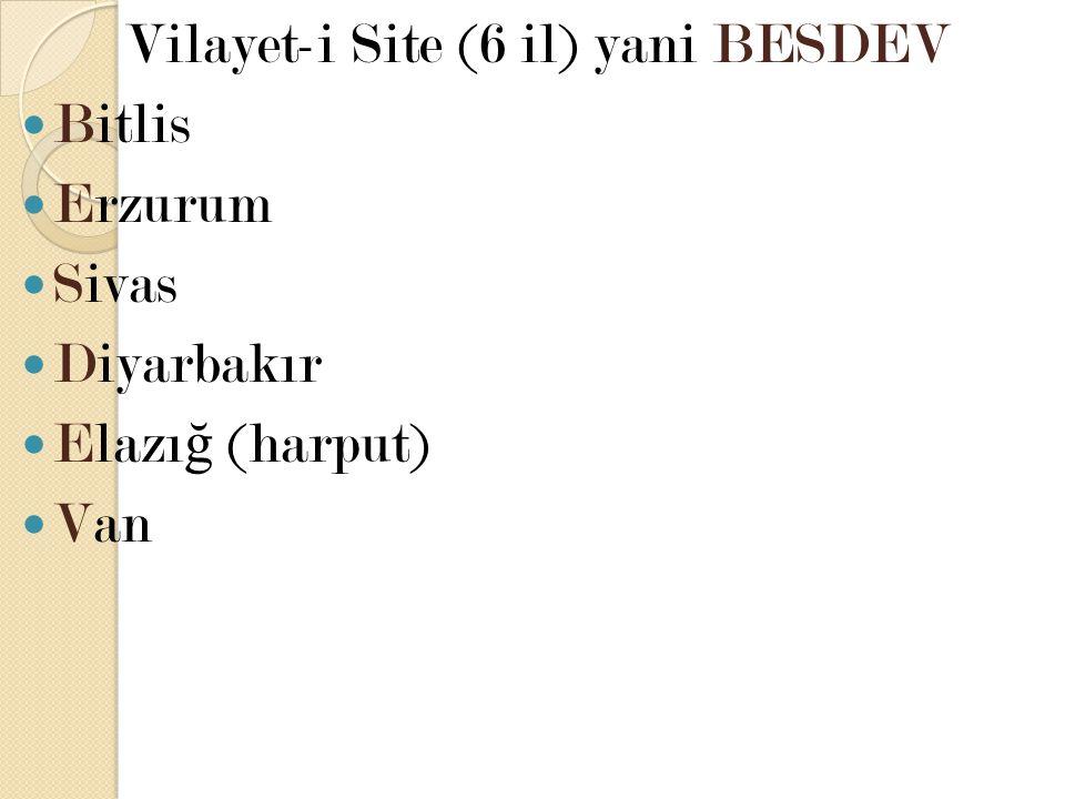 Vilayet-i Site (6 il) yani BESDEV