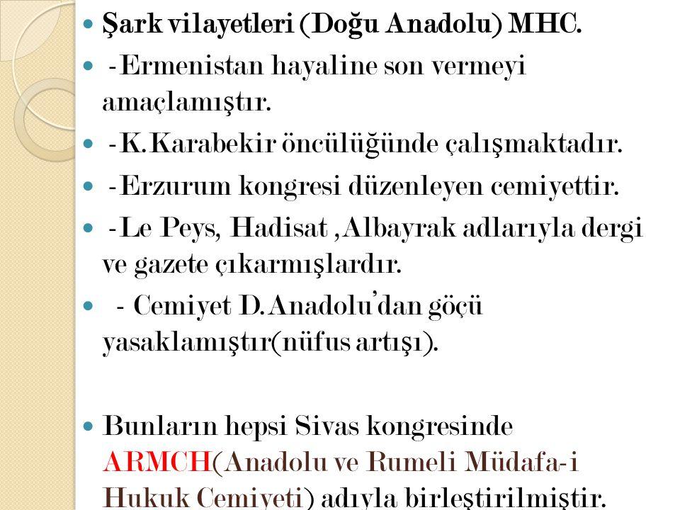 Şark vilayetleri (Doğu Anadolu) MHC.