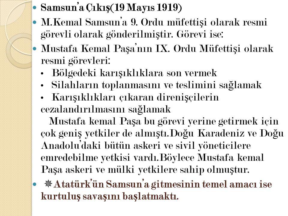 Samsun'a Çıkış(19 Mayıs 1919)