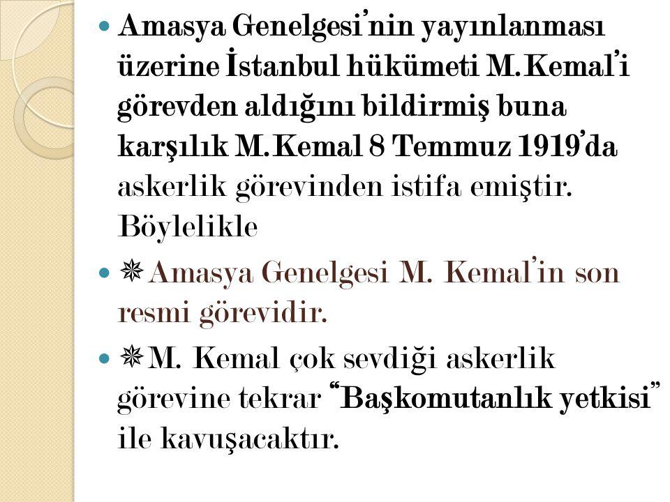 Amasya Genelgesi'nin yayınlanması üzerine İstanbul hükümeti M