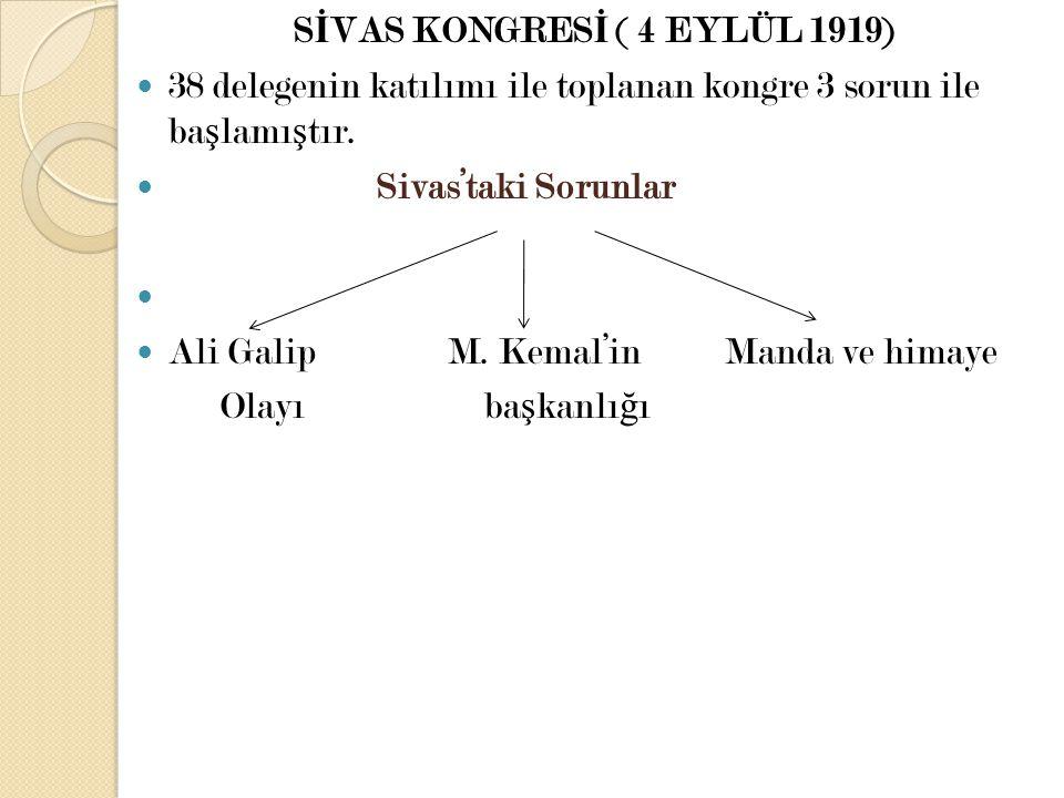SİVAS KONGRESİ ( 4 EYLÜL 1919)