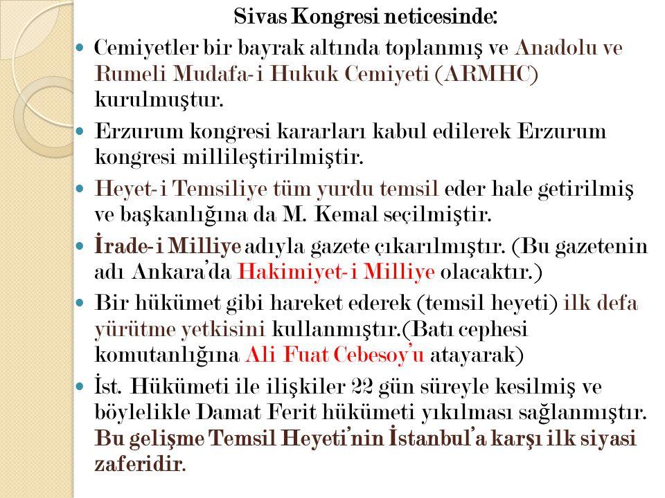 Sivas Kongresi neticesinde: