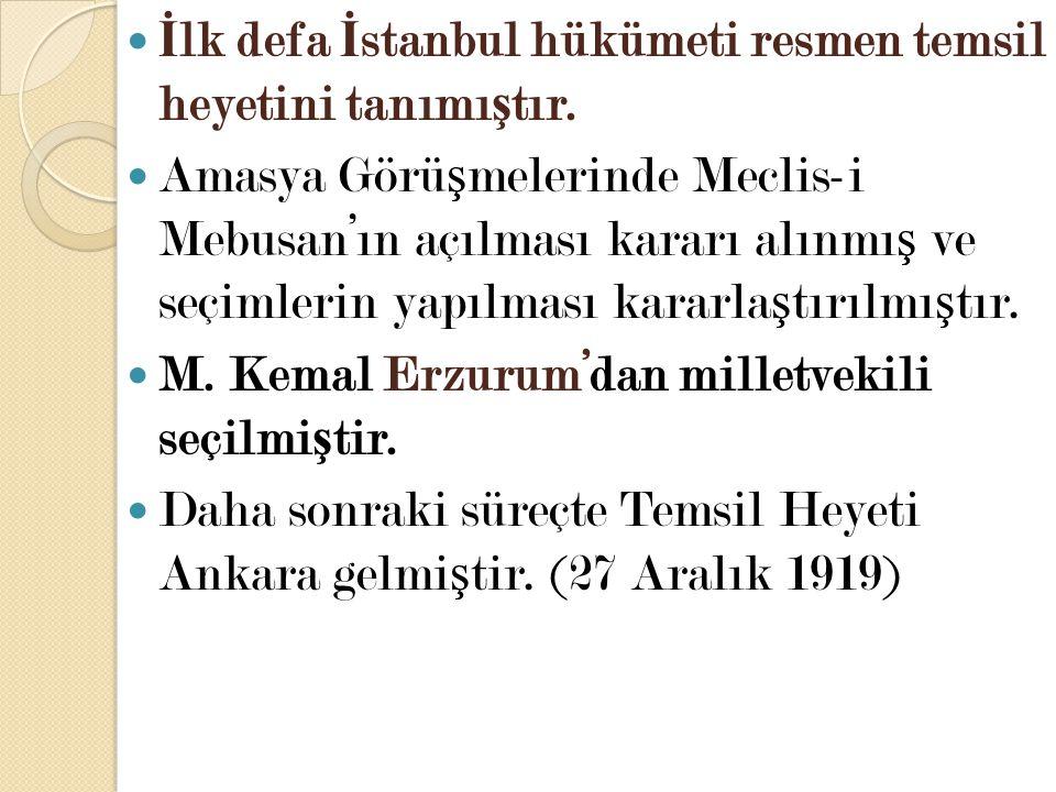 İlk defa İstanbul hükümeti resmen temsil heyetini tanımıştır.