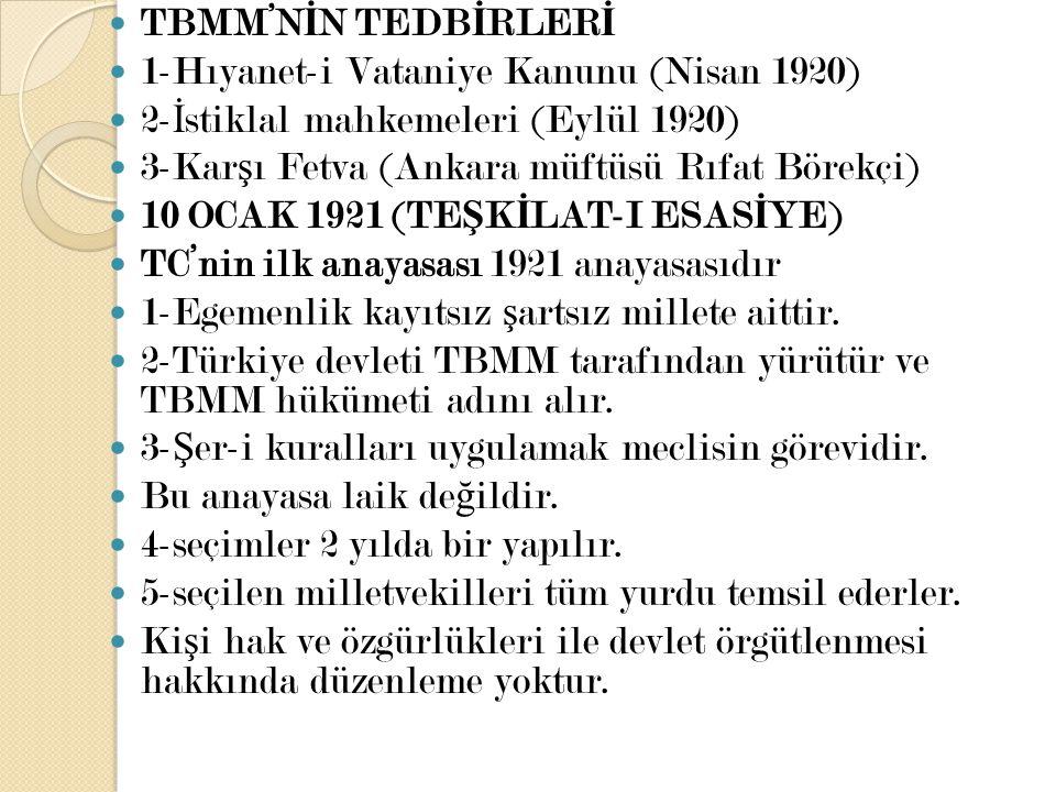 TBMM'NİN TEDBİRLERİ 1-Hıyanet-i Vataniye Kanunu (Nisan 1920) 2-İstiklal mahkemeleri (Eylül 1920) 3-Karşı Fetva (Ankara müftüsü Rıfat Börekçi)