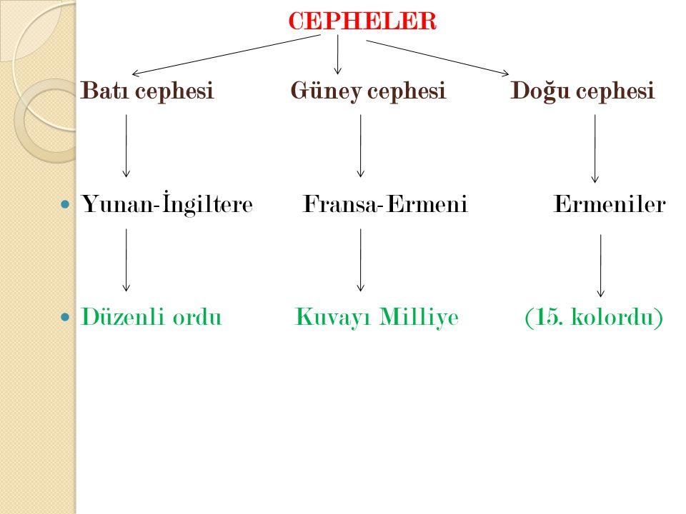 CEPHELER Batı cephesi Güney cephesi Doğu cephesi. Yunan-İngiltere Fransa-Ermeni Ermeniler.