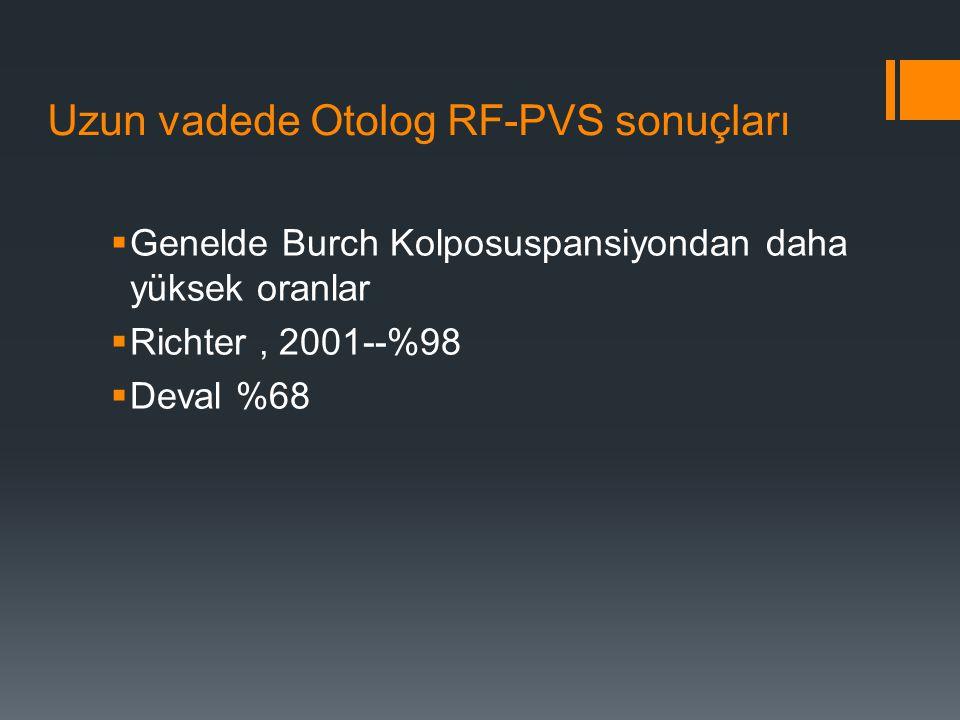 Uzun vadede Otolog RF-PVS sonuçları
